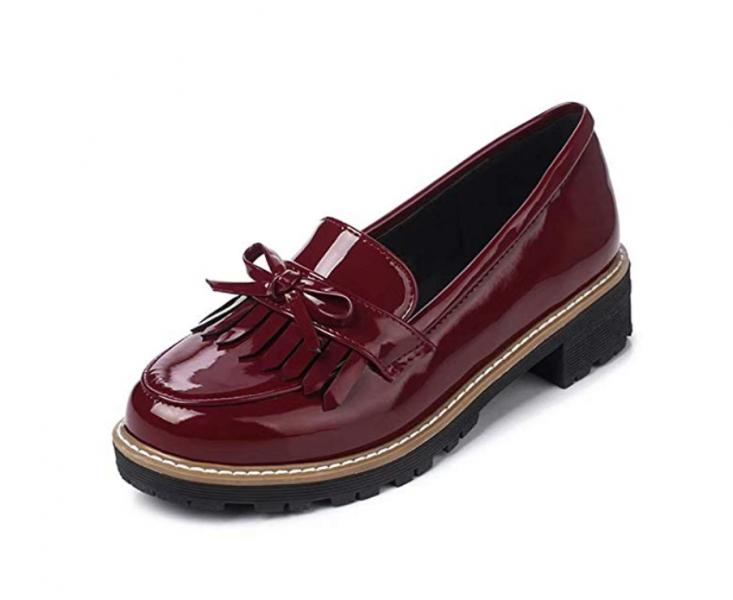wine patent leather oxfords
