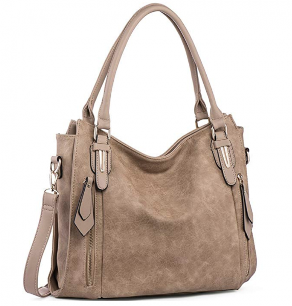 beige satchel with pockets